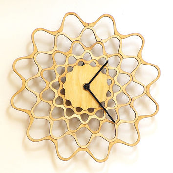 Embroidery - contemporary modern wall clock made of wood