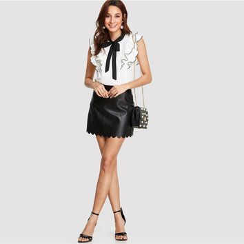 Elegant Workwear Black and White Colorblock Womens Tops and Blouses Tie Neck Layered Ruffle