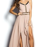 Portia Nude Strappy Goddess Maxi Dress Gown