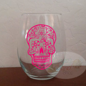 Sugar Skull, Calavera, Day of the Dead, skull, Stemless Wine Glass