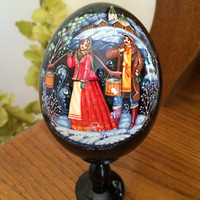 Holiday Christmas Egg Winter Conversation traditional russian wood egg collectible holiday birthday gift painted made hand souvenir wood