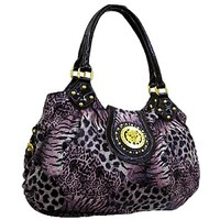 Animal Zebra Cheetah Leopard Print Purse Shoulder Bag (Purple)