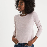 AEO Ribbed Tulip-Back Sweater, Pink