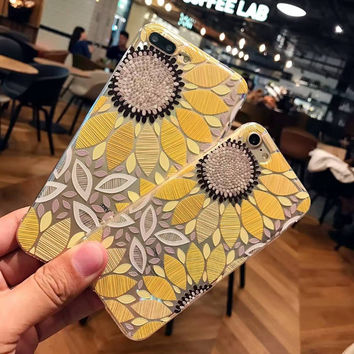 Luxury Soft Cartoon Flower Case For iphone6 6s 6 plus 6s plus 7 7plus yellow sunflower black flower case
