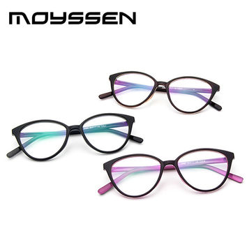 Moyssen Women Retro Cat Eye Round Frame Glasses Female Fashion Decorative Myopia Eyeglasses can be made with Prescription Lens