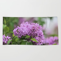 Lilac Bouquets Beach Towel by Theresa Campbell D'August Art