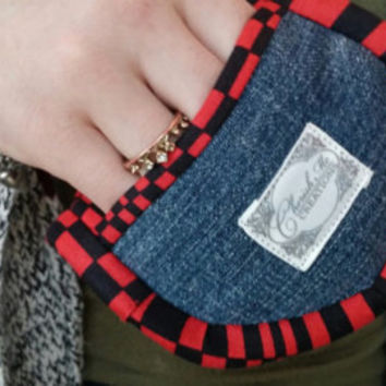 Quilted Mini oven mitts deluxe pot holders Upcycled denim handpicked bias Unisex Ready to ship