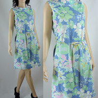Vintage Dress, Sixties Floral Cotton Shift Dress, Medium Dress
