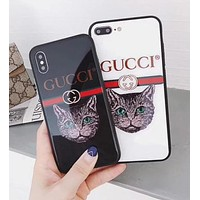 Gucci New Style iPhone 6 plus Cute Cat Pattern IPhone7 Glass Protective iPhone Shell Couple Phone Case