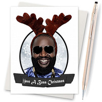 Christmas card- Handmade Christmas Card , Christmas tree, a fireplace and Santa's sack rick ross
