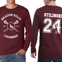 Beacon Hills Lacrosse WL Stilinski 24 Stiles Stilinski Dylan o'brien on Longsleeve MEN tee Maroon color
