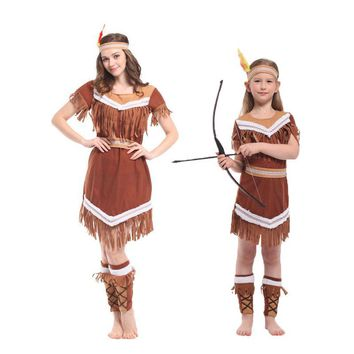 Cool Umorden Halloween Costumes Family American Indian Princess Cosplay Women Native Hunter Costume Girl Fancy Dress for Adult KidsAT_93_12