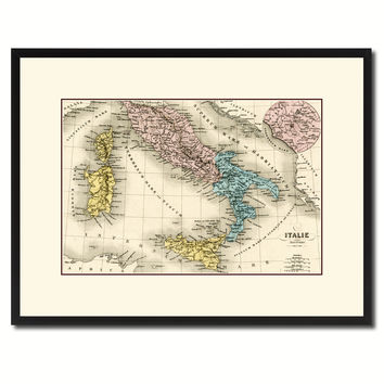 Italy Rome Vintage Antique Map Wall Art Home Decor Gift Ideas Canvas Print Custom Picture Frame
