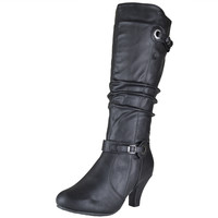 Womens Knee High Boots Buckle Accent High Heel Shoes Black SZ
