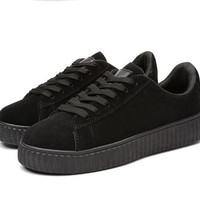 Sales Oxfords Winter women casual shoes fashion leather shoes Rihanna Creepers Femmes Lace-Up Flats Round Toe Creepers Ladies