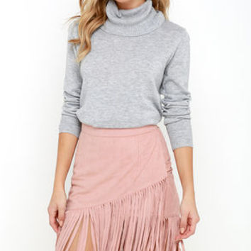 Flicker in the Wind Blush Suede Fringe Skirt