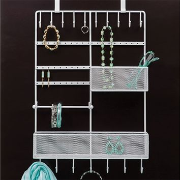 Over The Door White Jewelry Organizer
