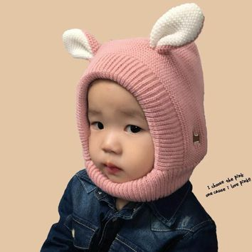 Winter Baby Hat Cartoon Style Ear Crochet Knitted Caps for Infant Boys Girls Children New Fashion Kids Winter Neck Warmer Caps
