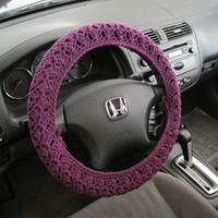 Crochet Steering Wheel Cover, Wheel Cozy - dark orchid (CSWC 2SSS)