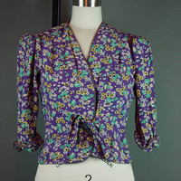 40s Cold Rayon Top Jacket 1940s Purple Tie Front Puff Sleeves XS S