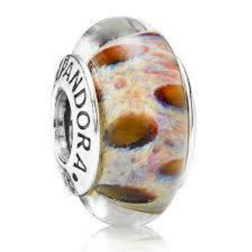 Sale -  Pandora Charms Clouded Leopard Murano Glass Charm Bead Authentic Pandora