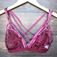 skyline floral lace bralette in burgundy