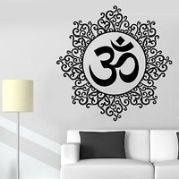 Wall Sticker Om Meditation Indian Spiritual Zen Lotus Vinyl Decal Unique Gift (z2932)