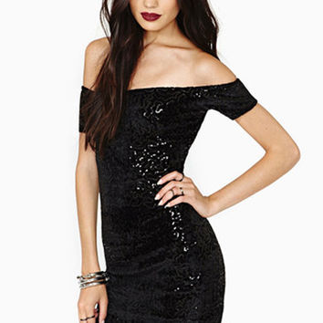 Black Off Shoulder Sequined Bodycon Mini Dress
