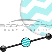 Turquoise White Chevron Industrial Barbell | Body Candy Body Jewelry