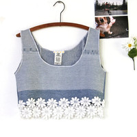 patched jean and daisy crop tank