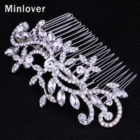 Minlover New Fashion Leaf Shape Austrian Crystal Imitation Gemstone Bridal Hair Combs for Women Hairpin Wedding Jewelry FS001