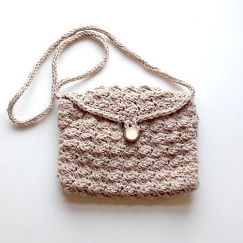 Summer Clutch Bag, Cotton/Linen Purse, Lined Crocheted Bag, Neutral Colour