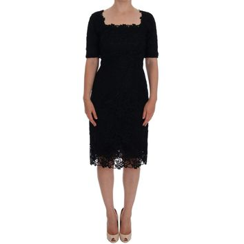 Dolce & Gabbana Black Floral Ricamo Sheath Dress