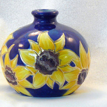 Small Ceramic Sunflower Vase by GrapeVineCeramicsGft on Etsy