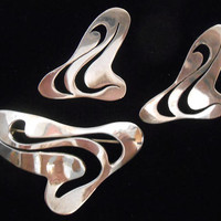Taxco Mexico Sterling Silver Abstract Pierced Earrings and Brooch Pin Swirls Large Statement