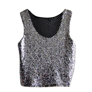 Hot Sleeveless Glitter Powder Women Vests Summer Fashion T-Shirt Cami Tank Crop Tops Tee For Party Club Street Clothes