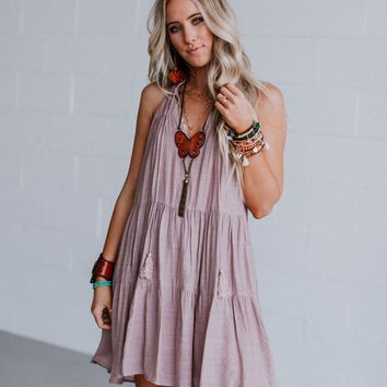 Alora Multi Tier Gathered Mini Dress - Mauve