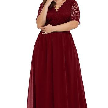 Red Chiffon Maxi Plus Size Evening Party Dresses