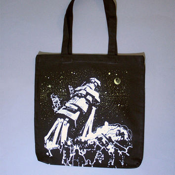 spaceship tote, scifi, astro fashion, fantasy tote bag, black bag, screenprinted bag, boho, alt, bohemian black canvas tote