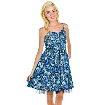 Sea Punk Blue Octopus and Sea Creatures Tulle Party Dress