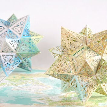 Earth Star Model Kit - Repurposed Map Pages