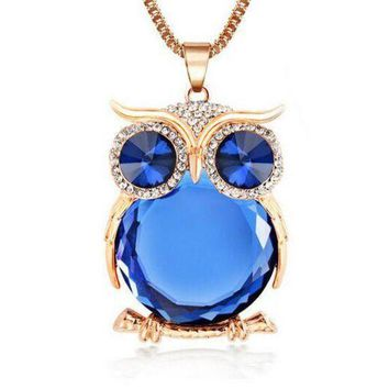 ICIKHY9 New Design Owl Necklaces&Pendants Vintage Crystal Gem Long Chain Gold/Silver Plated Fashion Necklace Women Gift