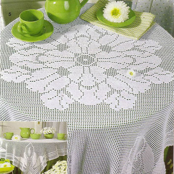 Big Crochet Tablecloth, White, Filet Crochet, Bridal Shower Gift, Victorian, Romantic