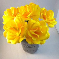 Yellow Paper Flowers with Stems - Paper Rose - Paper Flower - Anniversary Gift - Wedding Flowers - Bouquet - Home Decor - Valentine's Day