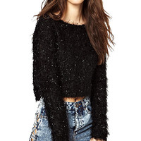 Black Shiny Long Sleeve Crop Sweater