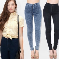 Jeans American Apparel high waist Stretch Denim acid washed  in several colors size XS to XL