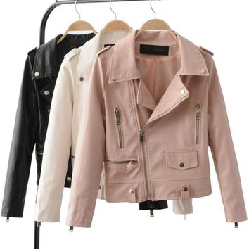 2017 New Women's Autumn Winter Fashion Leather Jackets Lady Long sleeve Slim Pink White Motorcycle Pu Coats Outerwear Hot Sale