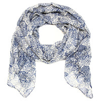 Cozy by LuLu - Pen and Ink Floral Scarf in Inkwell Blue