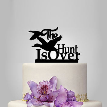 the hunt is over Wedding Cake Topper with ducks , wedding Cake Decoration, funny cake topper, unique topper