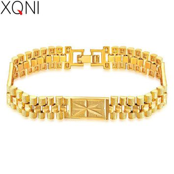 XQNI Classic Gold Color Chain Bracelet For Hip hop Men Fashion Design 18.5CM Length 10MM Width Male